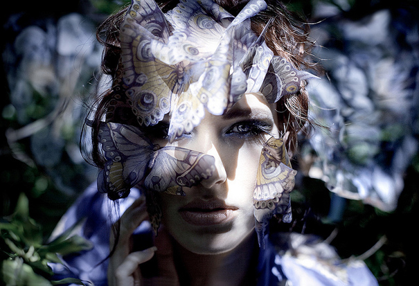 animal, art, beauty, blue, butterflies, butterfly, elbie van eeden, eyes, fashion, girl, kirsty mitchell, make up, makeup, model, natasha musson, nature, pale, photo, photograph, photography, portrait, purple, shine, woman