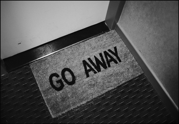 away, black and white, door, door mat, go away, mat