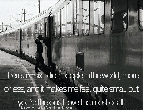 couple, happy, kiss, kissing, love, quote, train