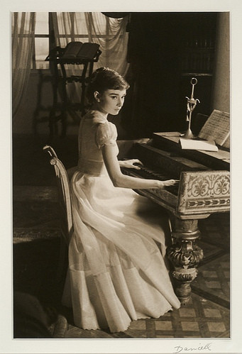 audrey, audrey hepburn, classic, classy, piano, vintage