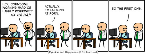awesome, c and h, cartoon, carttoon, comic, cyanide, cyanide and happiness, explosm, funny, humor, illustration, working hard