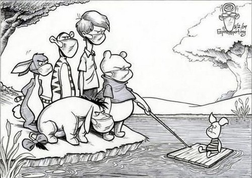 aaa, art, bear, black and white, cartoon, christopher robin, comic, comic art, cute, disney, drawing, drawn, eeyore, flu, fun, funny, humour, illustration, lol, maiale, mask, panic, pig, pig flu, piglet, pigs, pooh, rabbit, s, swine flu, swine flue