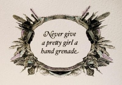 font, funny, girl, grenade, hand grenade, humor, humour, illustration, message, originality, quote, quotes, texts, weapon, weird, woman, woot woot, words