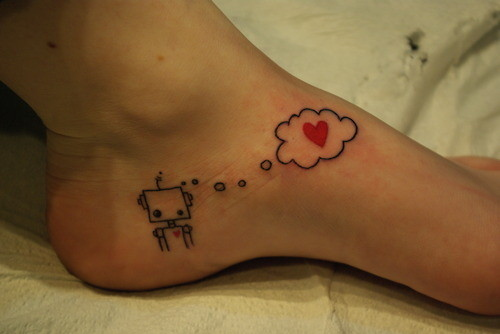 cute, feet, foot, foot tattoo, girl, heart, hearts, inspiration, inspire, l o v e, love, robot, tattoo, tattoos, techlove, think