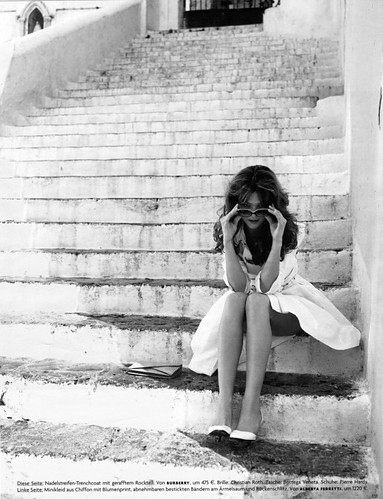 beauty, black and white, fashion, girl, grey, legs, shades, stairs, steps, woman