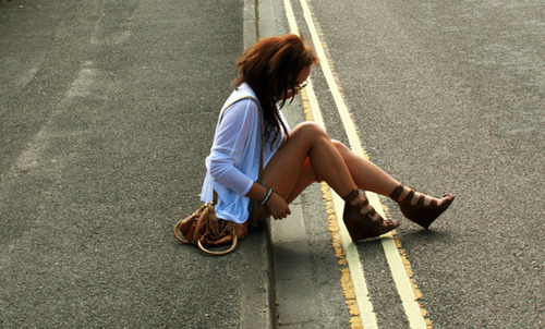girl, heels, legs, road, shorts, thighs