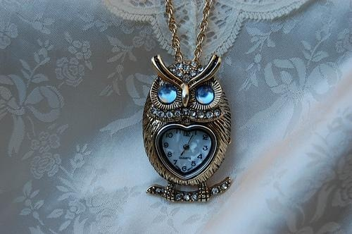 accessories, animal, clock, jewelry, owl, photography, sapphire, time