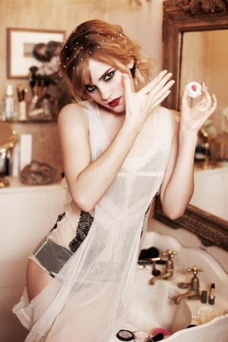 being women, dress up, ellen von unwerth, emma watson, eyes, fashion, girl, girls, hair, lingerie, make up, makeup, people, photography, photoshoot