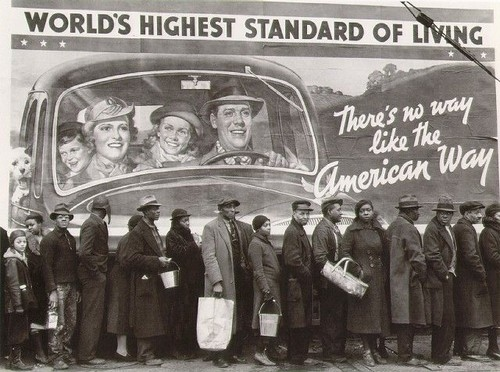america, american, american way, black and white, blacks, bread, bread line, crisis, flood, funny, great depression, hghest standard of living, history, humor, kentucky, l, line, people, photography, political, politics, poor, poverty, que, race
