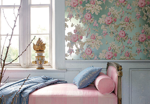 Bed bedroom blue cute decor decoration image 33407 for Floral bedroom decor