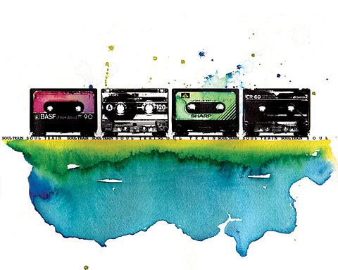 art, casettes, cassette, cassettes watercolor, color, colourful, cool, high contrast, illustration, tapes, the 7 ages of mandelion, watercolor