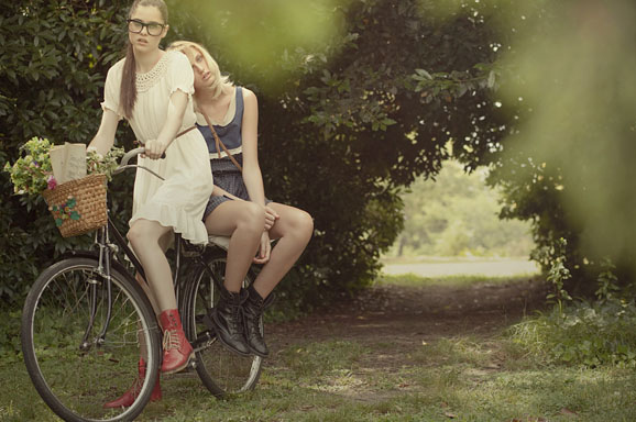 bike, cute, fashion, fashion photography, girl, girls, glasses, photography, pretty, red, shoes, vintage