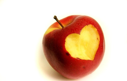 aple heart, apple, apple heart, funny, heart, love, red