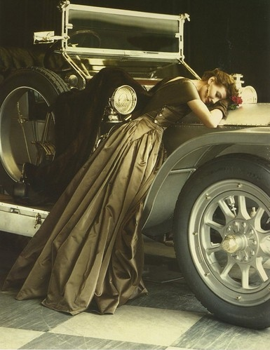 brown, car, color, dress, fashion, flowers, girl, glamour, hair, norman parkinson, photo, photography, photoshoot, vintage, woman