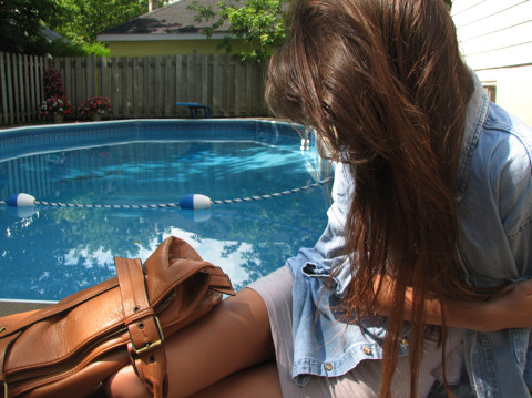 admiration!, bag, brunette, fashion, female, girl, hair, hot, long hair, longhair, pool, summer, summertime, sun, sunny, swimming pool, water