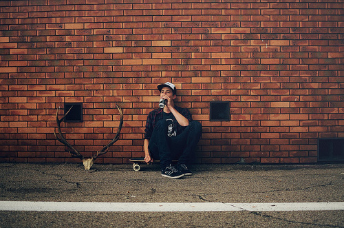boy, brick, brick wall, cap, guy, horns, skate, skateboarding, skater, wall