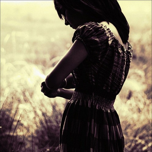 back, children, dark, dark hair, dress, field, girl, grass, illustration, light, people, photography, sepia, vintage