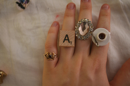 coffee, diamond, film, gorgeous, grain, hand, jewelry, matched, miss, ring, scrabble, tea