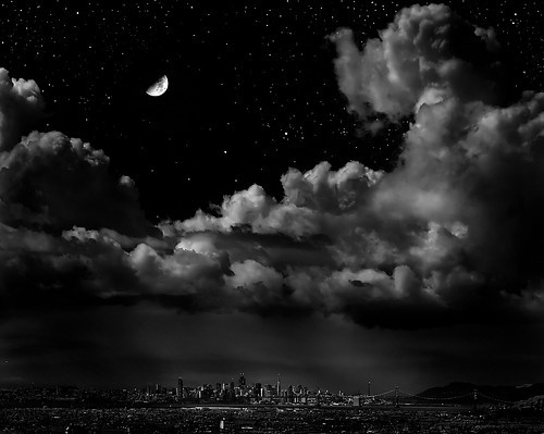 city, cityscape, night, night moon, photo, photography