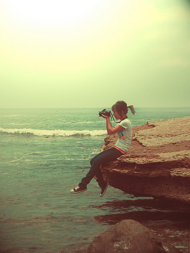 camera, cliff, fdds, girl, inspiration, nature