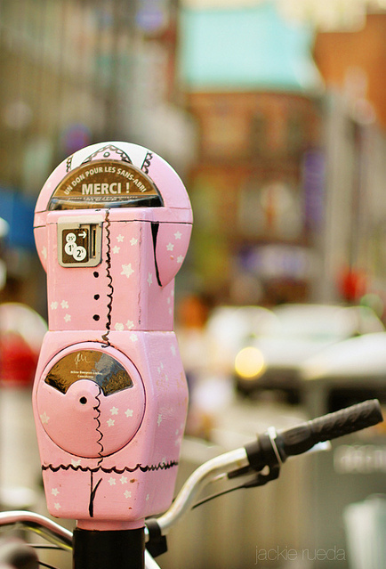 city, cool, montreal, parking meter, pink, pretty