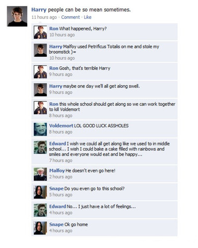 conversation, edward, edward cullen, facebook, fail, funny, harry, harry potter, mean girls, twilight