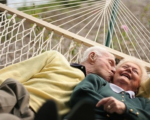 age, couple, cute, hammock, happy, kiss