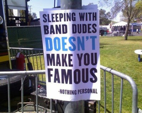 band, bg:outside, cool, famous, funny, group, groupies, nothing personal, quote, quote funny, rock, sleep, sleeping with, star
