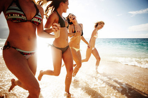beach, friends, girls, sand, smiles, water