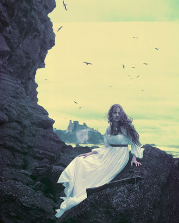 birds, cliff, dress, eugenio recuenco, fairy tale, fantasy, girl, photography, vintage, white dress, woman