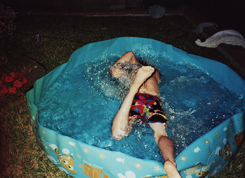 boy, film, funny, grain, pool, swim, swimming, water