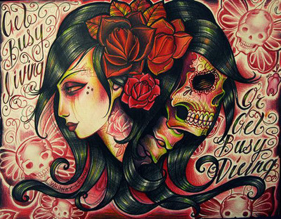 Women Tattoos on Female  Illustration  Sugar Skulls  Tattoo  Tattoos  Vintage