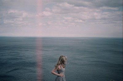 alone, beach, blonde, blue, dress, expanse