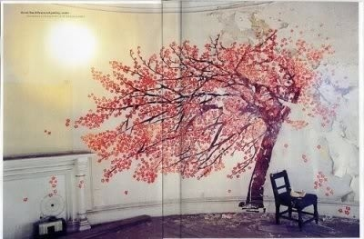 apartment, blossom, blossoms, creative, future home, ideas, inspiration, interior, room, tree, tree on wall, trees