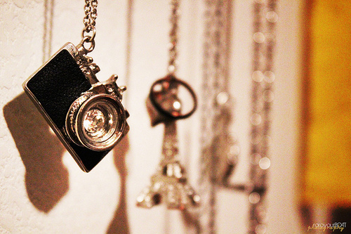black, camera, chain, eiffel tower, gold, necklace