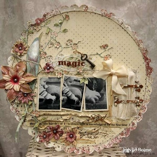 bow, flowers, hinges, key, scallop, scrap pages