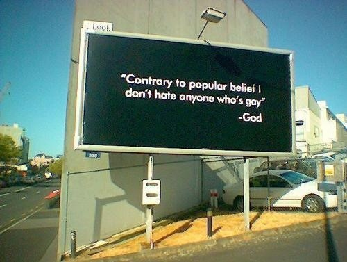 advertising, billboard, funny, gay, god, hate