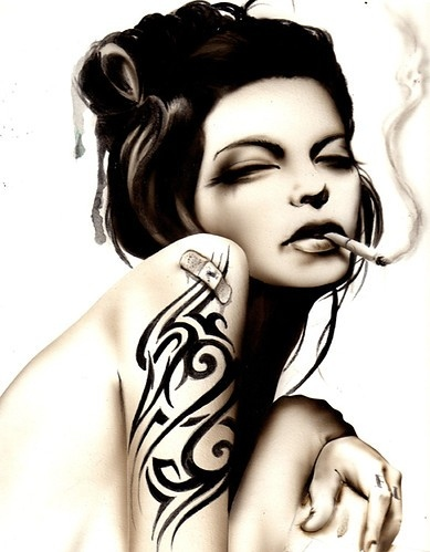 art, ash, beautiful, beauty, black, black and white, brian, dark, digital art, dirty, drawing, eye, eyes, face, fantasy, flirty, illustration, lashes, latina, lips, makeup, pin up, pinup, portrait, pretty, rebel, rebellion, sexy, smoke, smoking, taboo