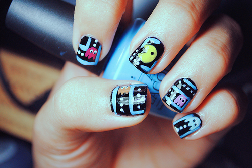 awesome, cute, ghosts, nailpolish, nails, pac-man