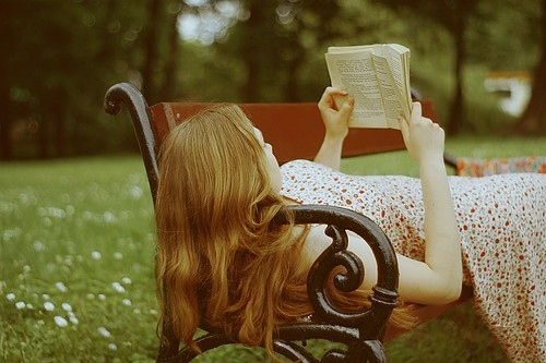 beaut, book, books, color, cute and fun, douceur de vivre, female, garden, girl, happiness, landscape, park, peace, photography, reading, red, redhead, visref, woman