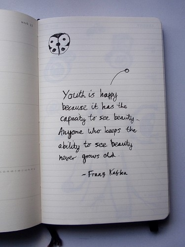beauty, capacity to see beauty, franz kofka, kafka, life, love, moleskine, photography, quote, quotes, text