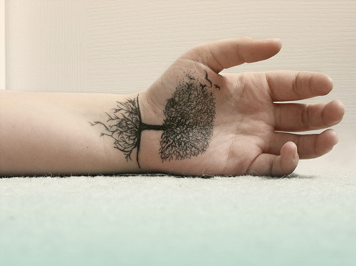 arm tattoo, hand, tattoo, tree, wrist tattoo