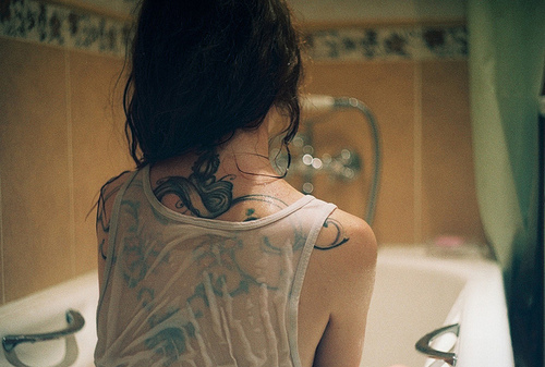 back, bath, bathroom, fashion, girl, tatoo