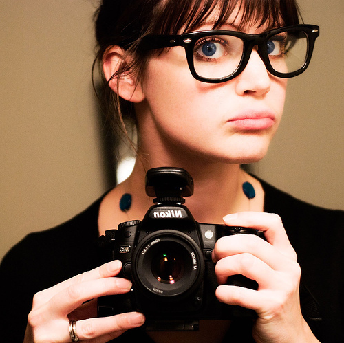 blue, camera, cute, girl, glasses, nerd glasses, nikon, ring