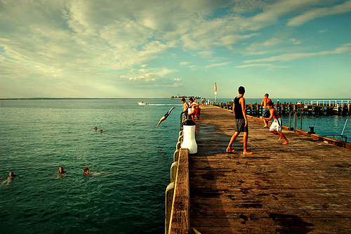 boys, friends, jump, pier, sea, sky