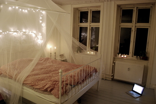 #lights, #pretty, bed, bedroom, computer, laptop, window