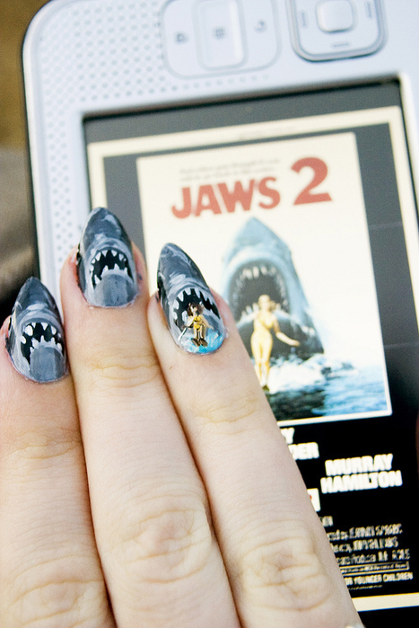 amazing, jaws, movie, nail art, nails, shark