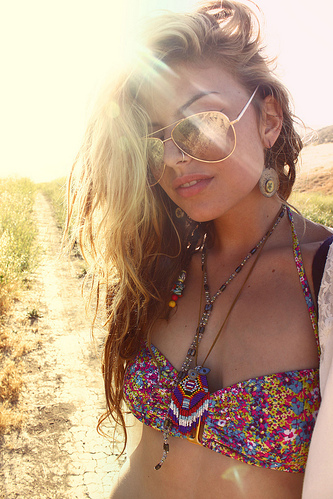bikini, blonde, colours, earring, girl, glasses, hippie, long hair, nature, necklace, piercing, sun