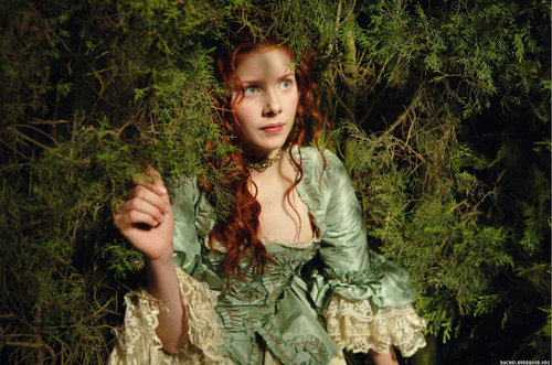 blue eyes. redhead, dress, flowers, perfume, pretty, rachel hurd-wood
