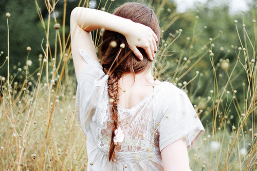 braid, dress, girl, green, nature, pretty